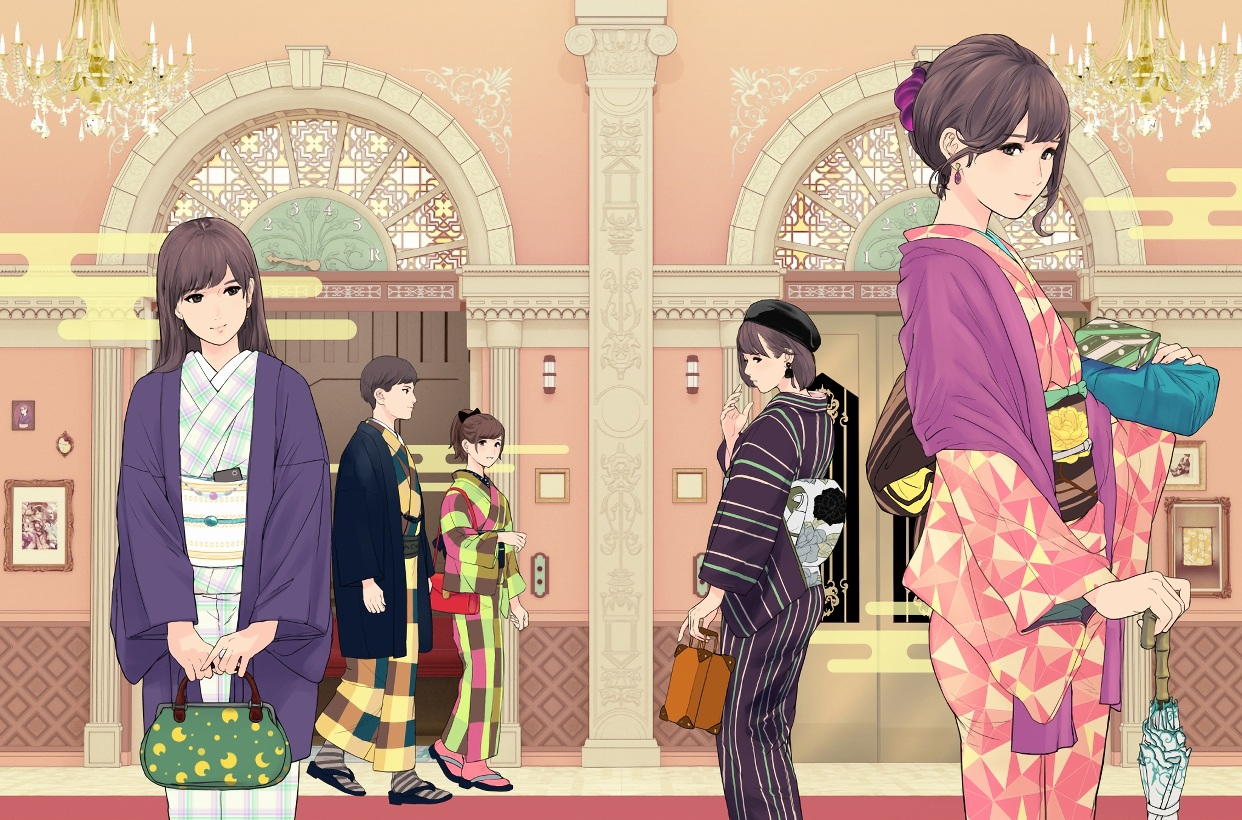 aliasing black_eyes black_hair brown_hair group hat japanese_clothes kimono long_hair male munakata_(hisahige) original ponytail short_hair umbrella waifu2x