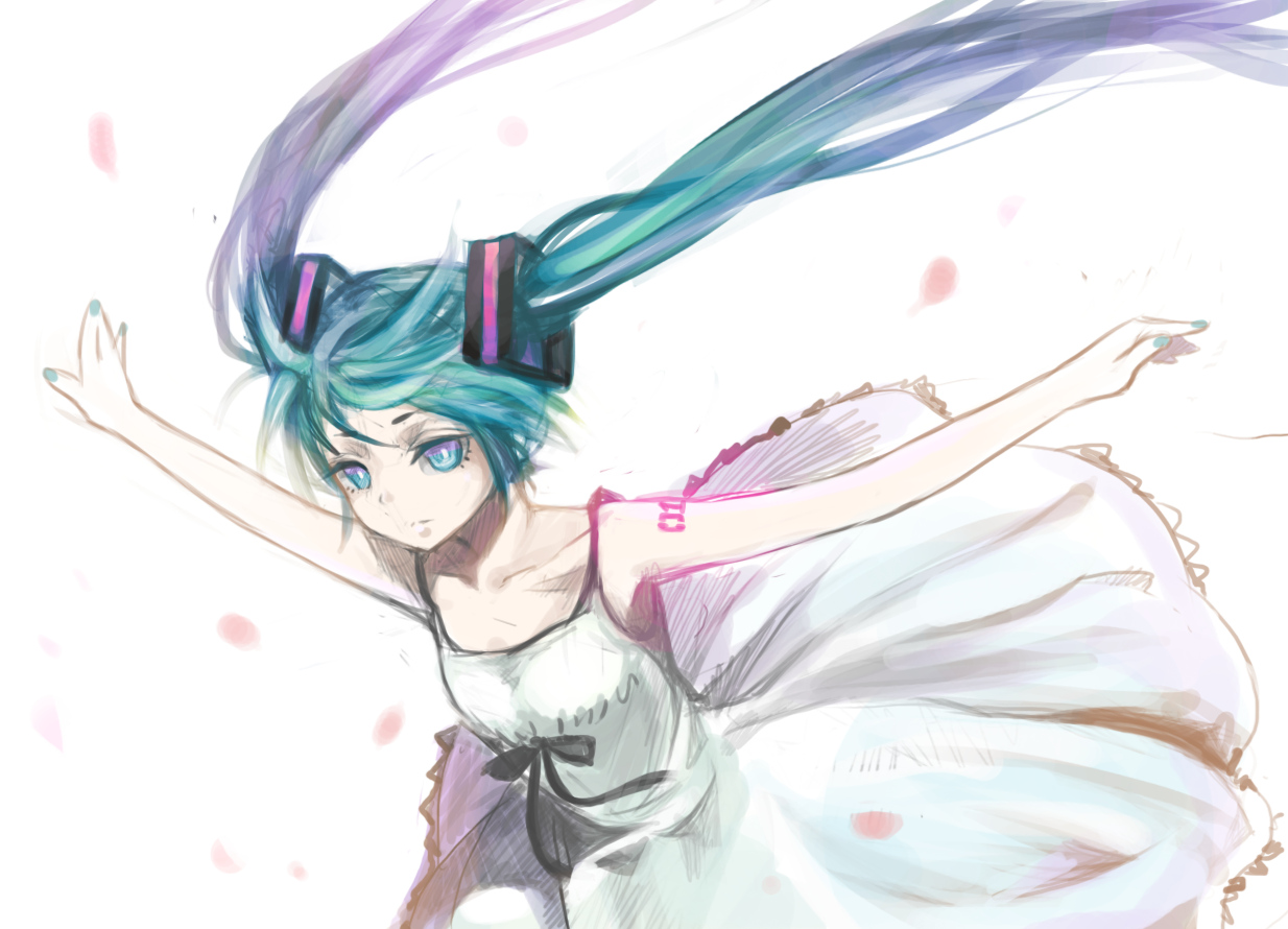 dress hatsune_miku petals vocaloid white
