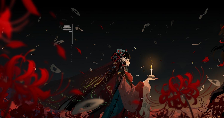 black_hair blush chinese_clothes dark flowers green_eyes headdress long_hair miemia original
