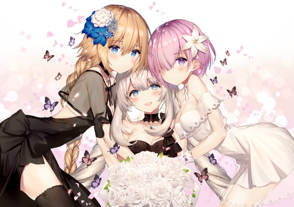 aliasing blonde_hair butterfly dress fate/grand_order fate_(series) flowers hug jeanne_d'arc_(fate) long_hair marie_antoinette_(fate/grand_order) mash_kyrielight necomi pink_hair short_hair white_hair