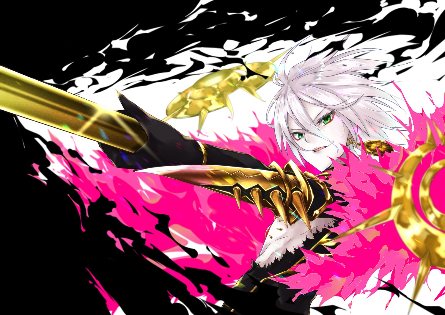 all_male fate/apocrypha fate_(series) gray_hair green_eyes karna male rebasashi7 short_hair