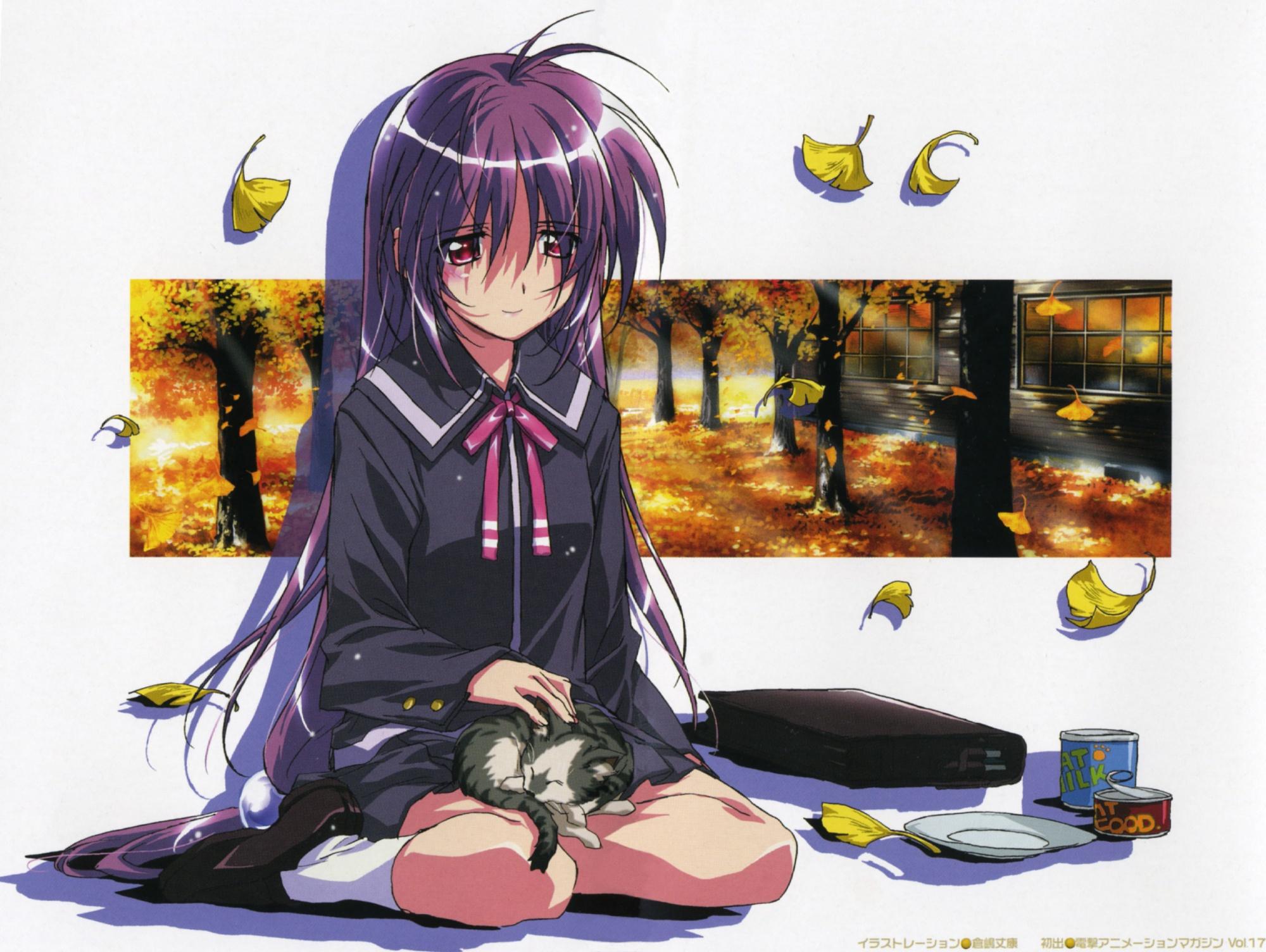 animal autumn cat food iriya_kana iriya_no_sora_ufo_no_natsu leaves long_hair purple_hair red_eyes school_uniform tree white