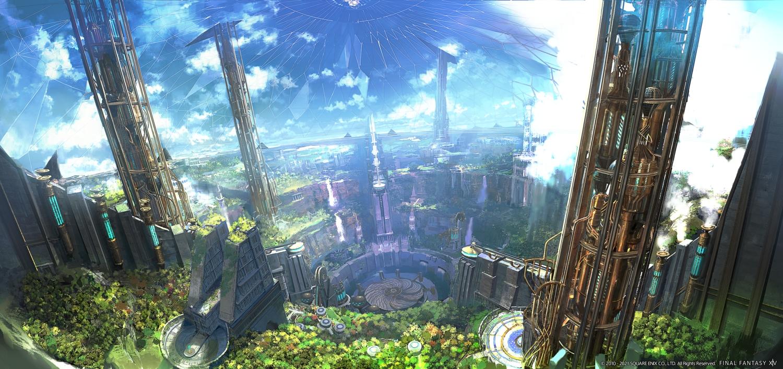 building city final_fantasy final_fantasy_xiv landscape scenic square_enix water waterfall watermark