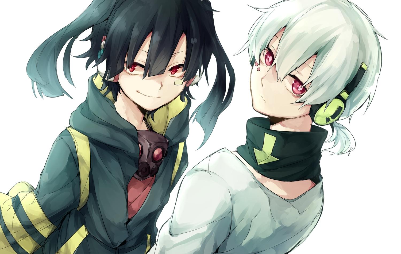 asuna_(doruru-mon) black_hair enomoto_takane gray_hair headphones kagerou_project konoha_(kagerou_project) male pink_eyes red_eyes white
