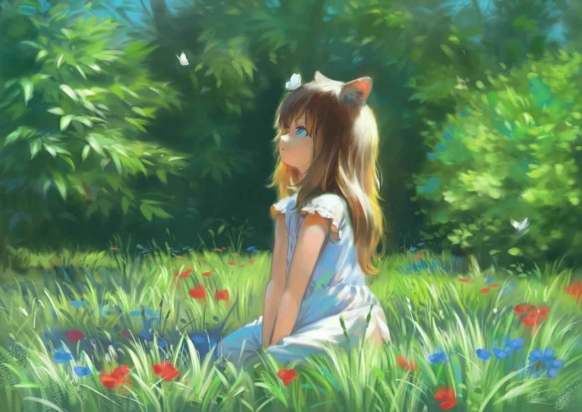 animal_ears aqua_eyes brown_hair butterfly dress flowers grass leaves loli long_hair original spring summer_dress wasabi60