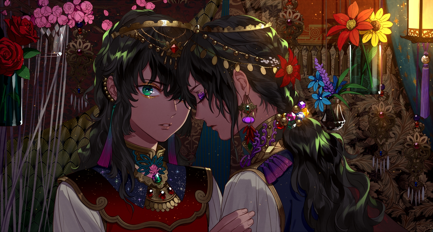 all_male black_hair braids flowers green_eyes headdress kazari_tayu long_hair male original ponytail rose