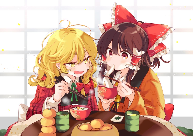 2girls blonde_hair blush bow braids brown_hair drink food fruit hakurei_reimu japanese_clothes kirisame_marisa kotatsu orange_(fruit) poprication red_eyes touhou yellow_eyes