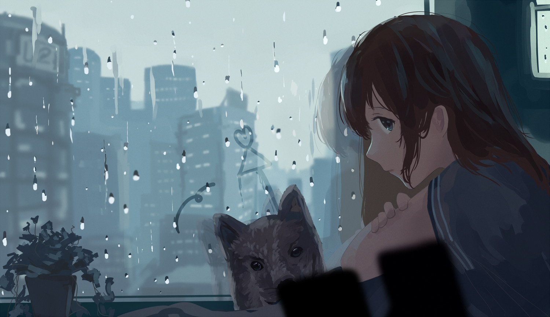 animal aqua_eyes brown_hair building city dog long_hair mifuru original reflection