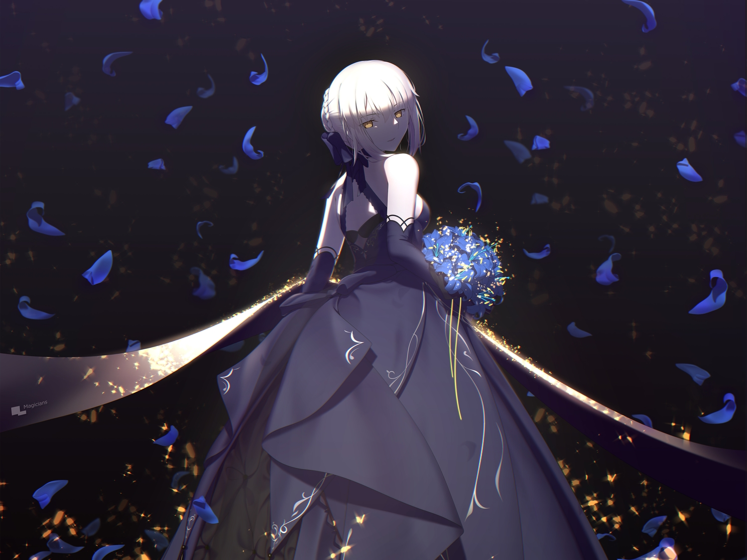 artoria_pendragon_(all) blonde_hair cropped dress elbow_gloves fate/grand_order fate_(series) flowers gloves magicians petals saber saber_alter short_hair yellow_eyes