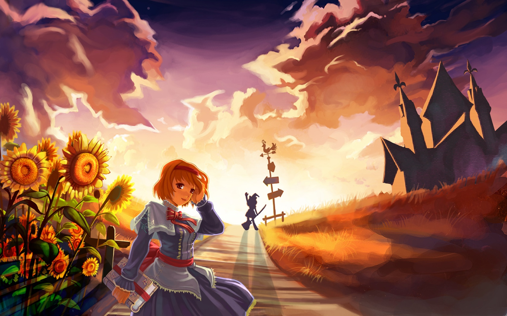 alice_margatroid blonde_hair book dress flowers grass hat kirisame_marisa red_eyes ribbons short_hair silhouette sky sunflower sunset touhou witch
