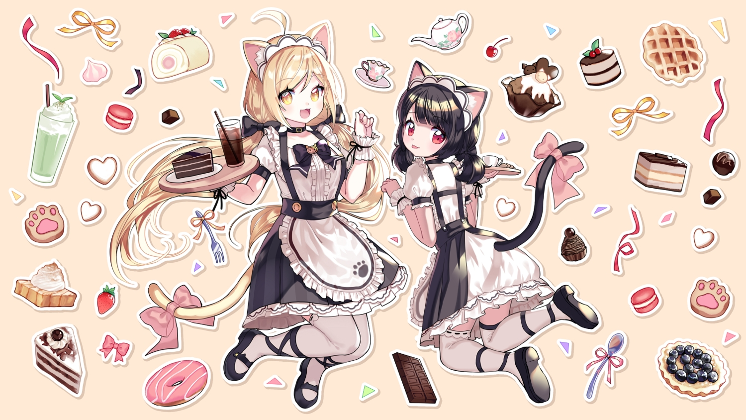 2girls aliasing apron black_hair blonde_hair bow cake catgirl cat_smile cherry chocolate drink food fruit maid mechuragi original red_eyes strawberry tail thighhighs twintails waitress yellow_eyes