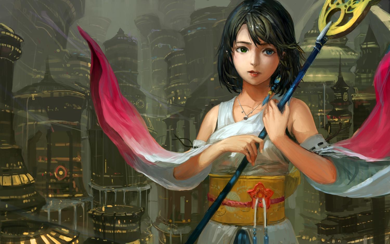 bicolored_eyes building city dark final_fantasy final_fantasy_x japanese_clothes jeanex jpeg_artifacts necklace short_hair staff yuna_(ffx)