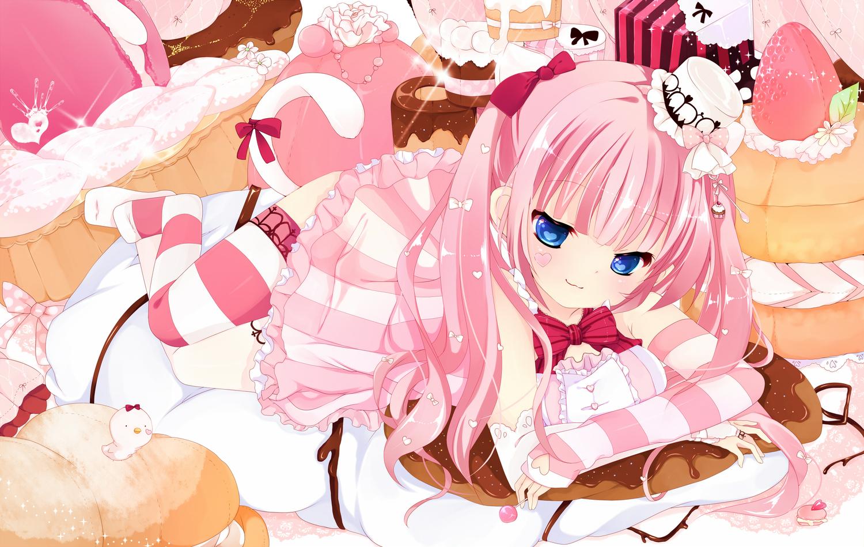 blue_eyes bow cake dress elbow_gloves food gloves hat long_hair pink_hair sakuragi_yuzuki tagme tail