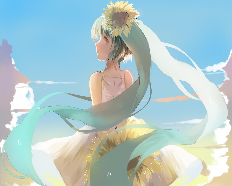aqua_eyes aqua_hair cropped dress flowers hatsune_miku long_hair sunflower twintails vocaloid weitu