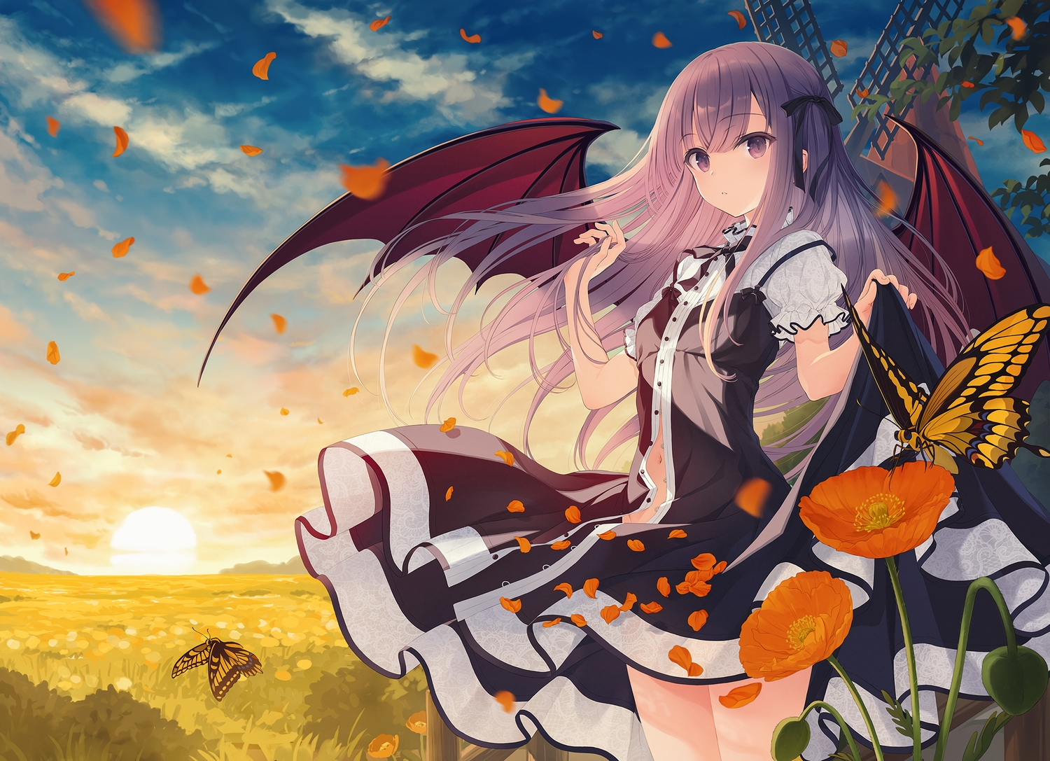 butterfly clouds demon dress flowers grass long_hair navel original purple_eyes purple_hair sky sunset windmill wings yashiro_seika