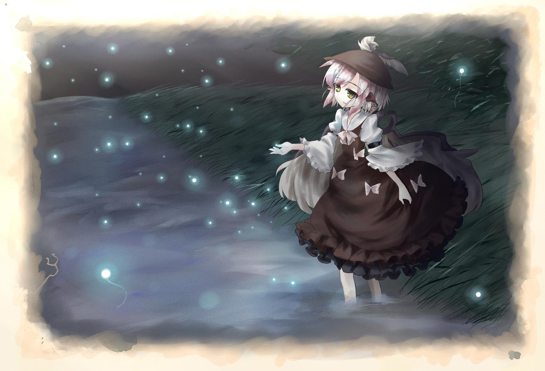 grass hat mystia_lorelei night pink_hair short_hair touhou water yellow_eyes