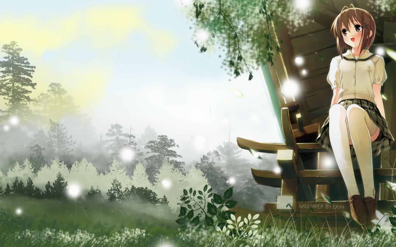 amatsume_akira brown_eyes brown_hair forest grass kantoku school_uniform short_hair skirt sky thighhighs tree watermark yosuga_no_sora