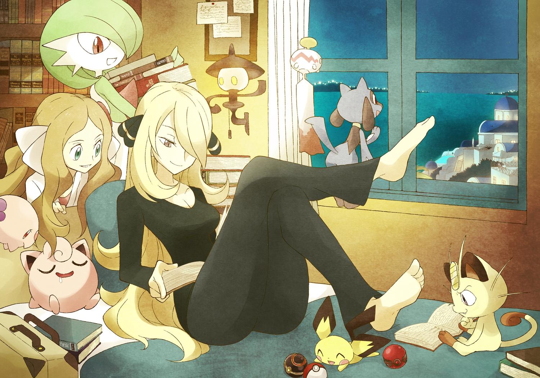 2girls barefoot bed book cattleya_(pokemon) gardevoir jigglypuff meowth munna pichu pokemon riolu shirona souji