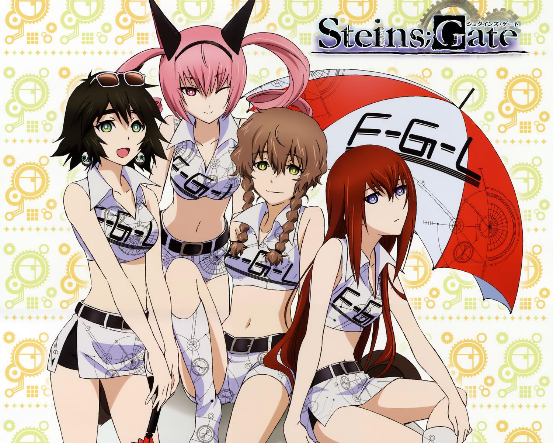 amane_suzuha calendar cropped faris_nyannyan makise_kurisu shiina_mayuri steins;gate sunglasses umbrella wink