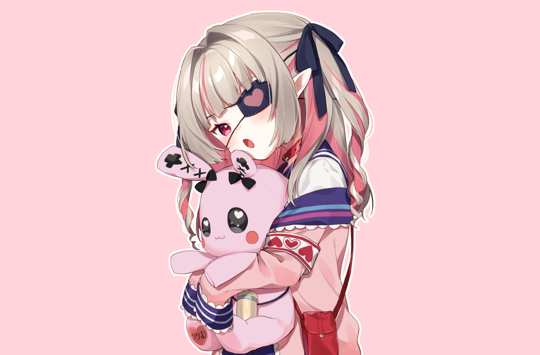 bunny collar demon eyepatch fang gray_hair loli long_hair makaino_ririmu nijisanji pink pointed_ears red_eyes ribbons school_uniform third-party_edit twintails yama_bukiiro