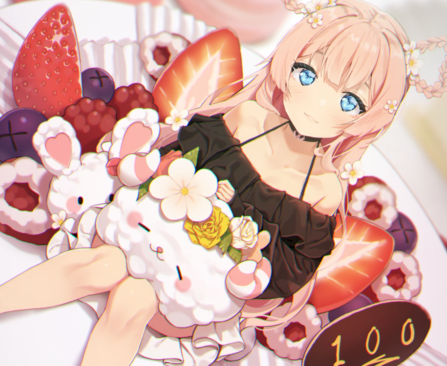 agnamore aqua_eyes blonde_hair blush braids bunny candy cat_smile chocolate choker cropped flowers food fruit long_hair original skirt strawberry