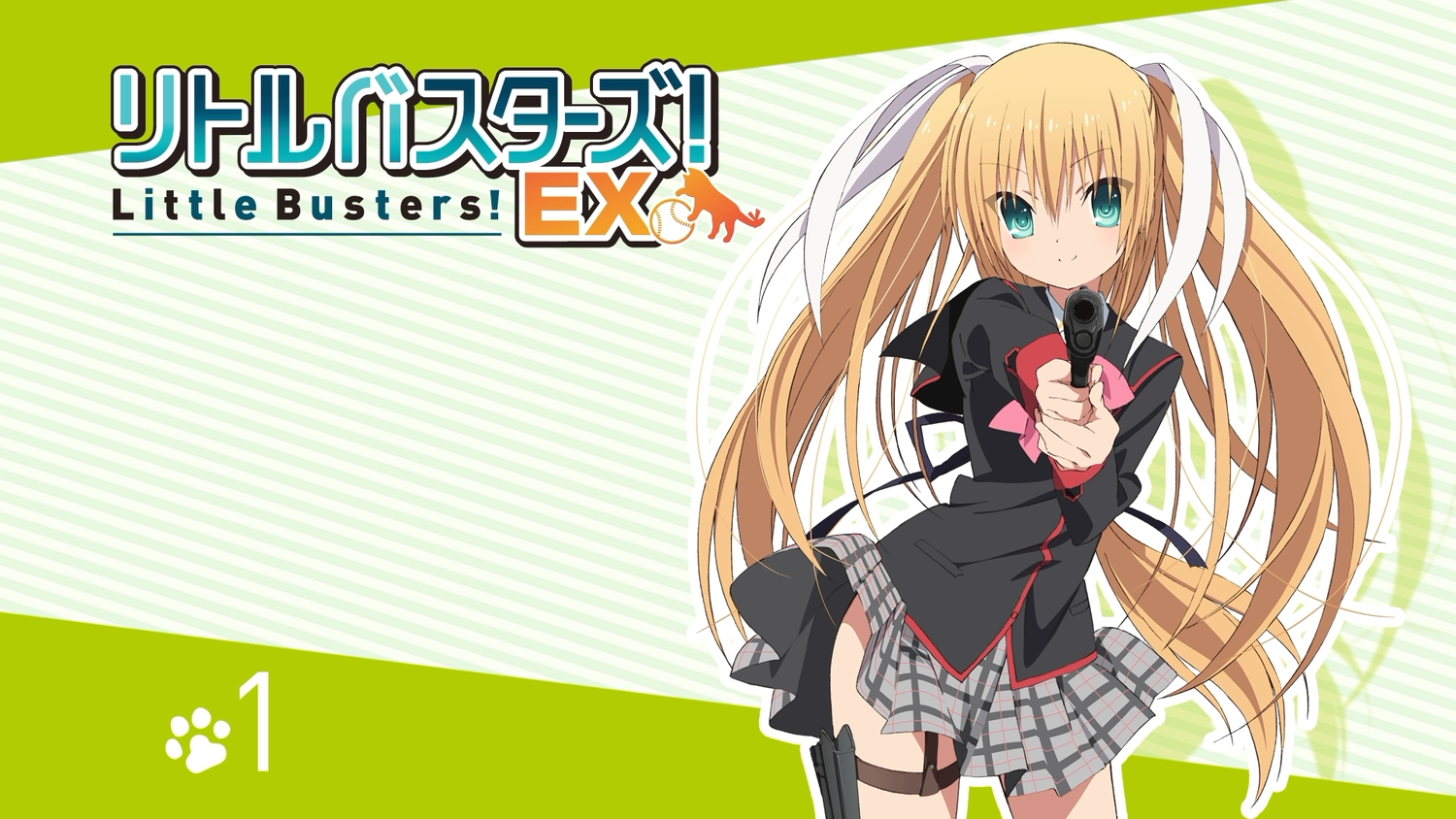 blonde_hair green_eyes gun little_busters! long_hair school_uniform skirt tagme_(artist) tokido_saya weapon