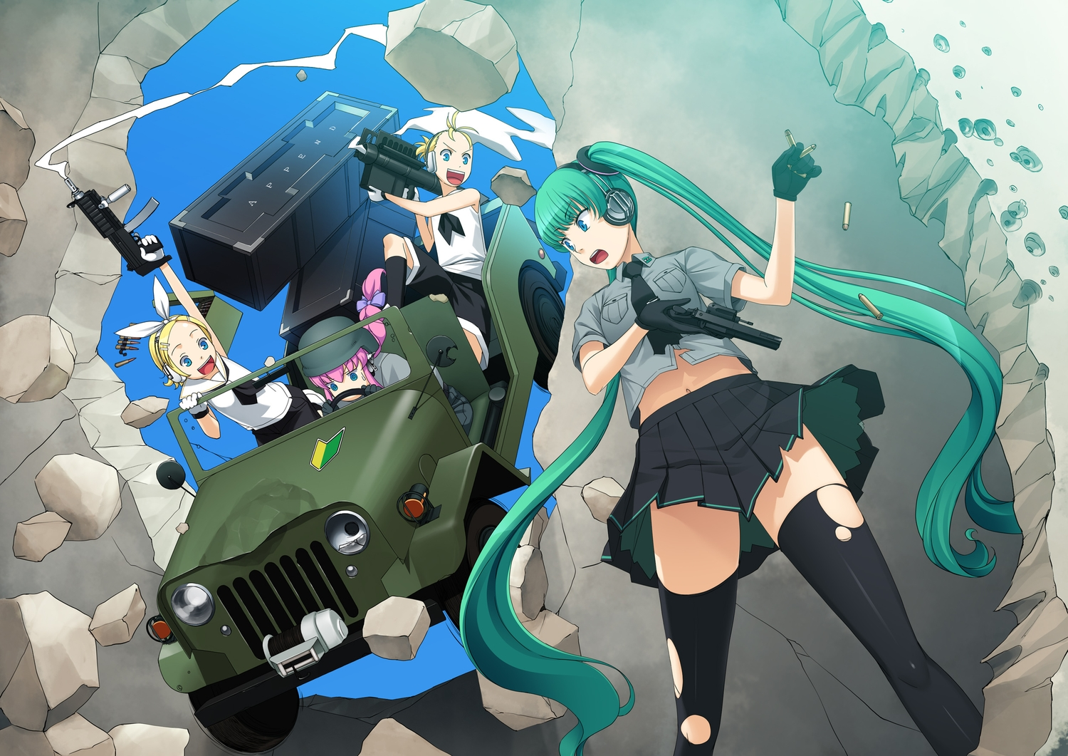 car combat_vehicle gahaku group gun hatsune_miku kagamine_len kagamine_rin male megurine_luka thighhighs torn_clothes vocaloid weapon