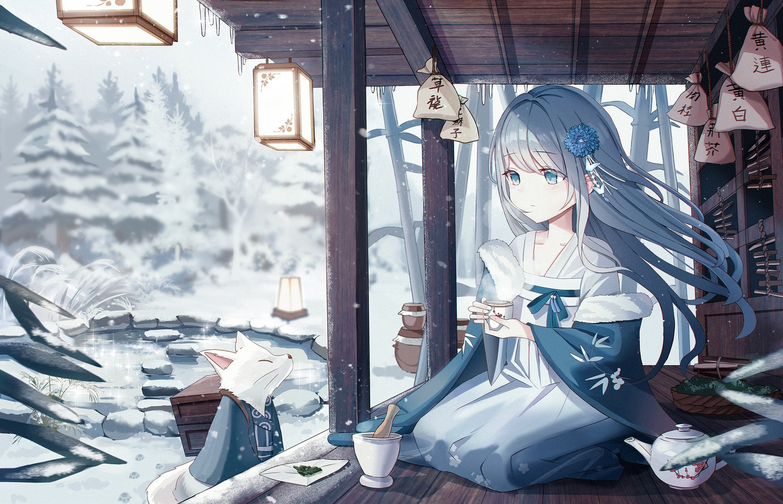 animal blue_eyes blue_hair building chinese_clothes drink fox iren_lovel long_hair original snow water