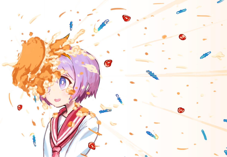 asgr cake food fruit hiiragi_tsukasa lucky_star purple_eyes purple_hair seifuku short_hair strawberry