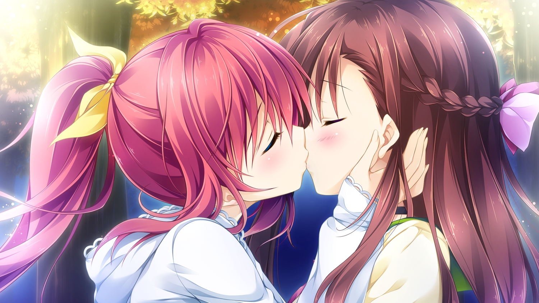 asakura_chihiro ensemble_(company) game_cg kiss long_hair male natsume_akari otome_ga_irodoru_koi_no_essence red_hair tagme_(artist) trap