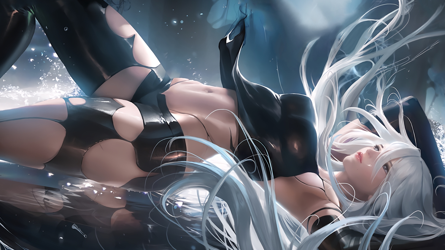elbow_gloves gloves long_hair navel nier nier:_automata reflection sakimichan shorts signed water watermark white_hair yorha_unit_no._2_type_a