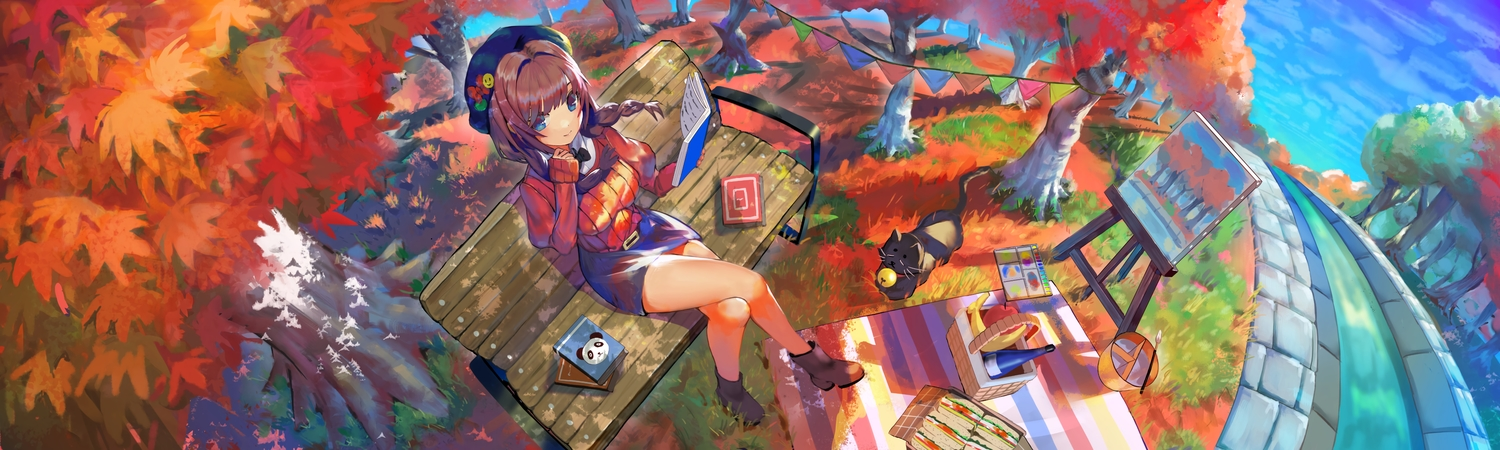 animal apple autumn blue_eyes book boots braids brown_hair cat drink dualscreen food fruit hat ogimotozukin original scenic skirt tree water