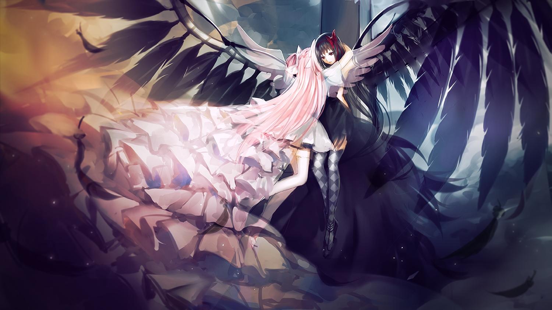 akemi_homura akuma_homura black_hair bow dress elbow_gloves feathers gloves kaname_madoka long_hair mahou_shoujo_madoka_magica mahou_shoujo_madoka_magica_movie meaomao pink_hair thighhighs ultimate_madoka waifu2x wings zettai_ryouiki