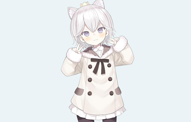 animal_ears blue blue_eyes bow capriccio crown dress gray_hair hoodie loli original pantyhose short_hair third-party_edit