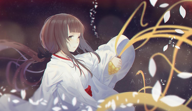 ano54 bell brown_hair green_eyes japanese_clothes long_hair miko original petals ponytail watermark