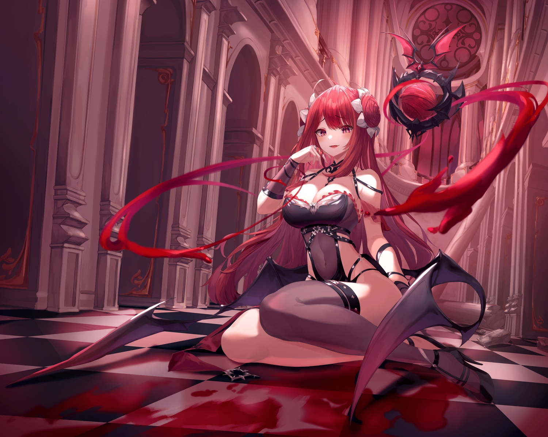 blood breasts cleavage demon erze_(king's_raid) fang king's_raid long_hair munseonghwa navel pink_eyes red_hair see_through succubus thighhighs wings wristwear