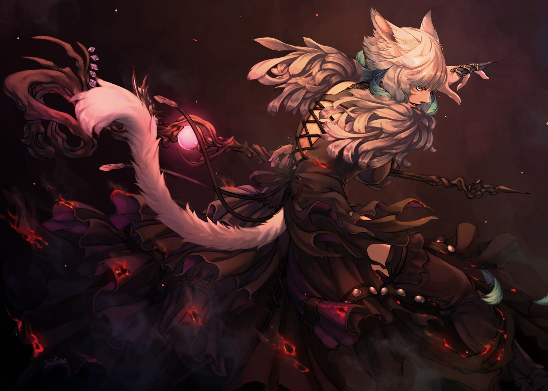 animal_ears catgirl final_fantasy final_fantasy_xiv fire gothic gray_eyes mihira_(tainosugatayaki) miqo'te short_hair signed staff tail white_hair y'shtola_rhul