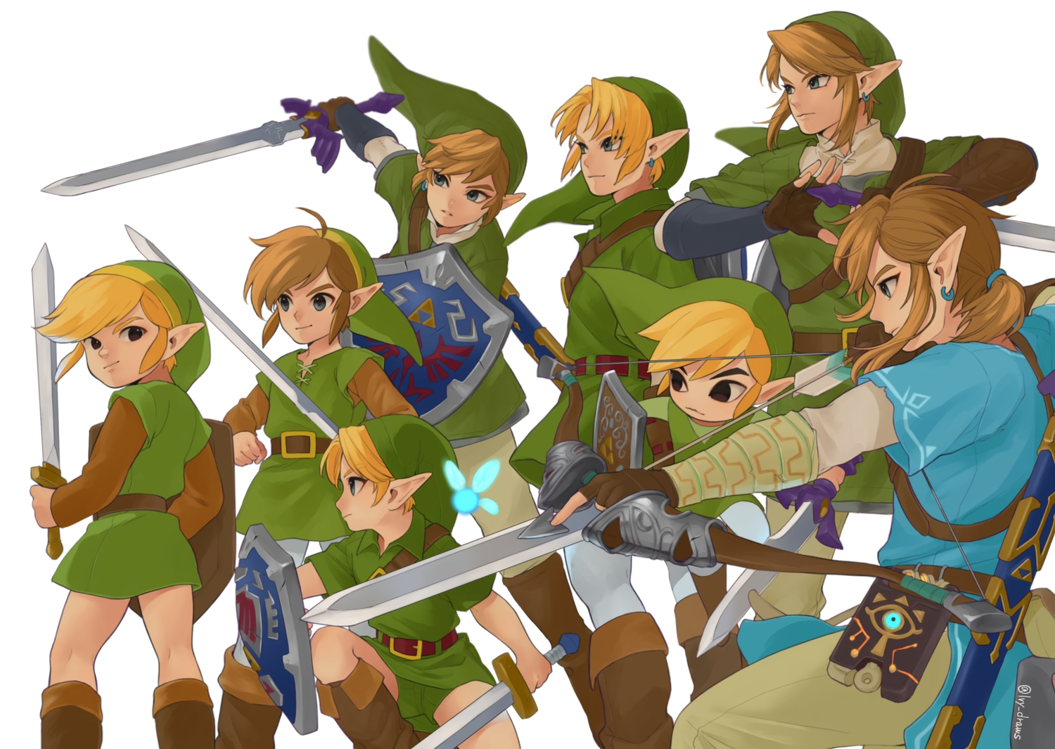 all_male black_eyes blonde_hair blue_eyes boots bow_(weapon) brown_hair chibi computer elbow_gloves fairy gloves group hat iva_(sena0119) link_(zelda) male navi pointed_ears short_hair signed sword the_legend_of_zelda weapon