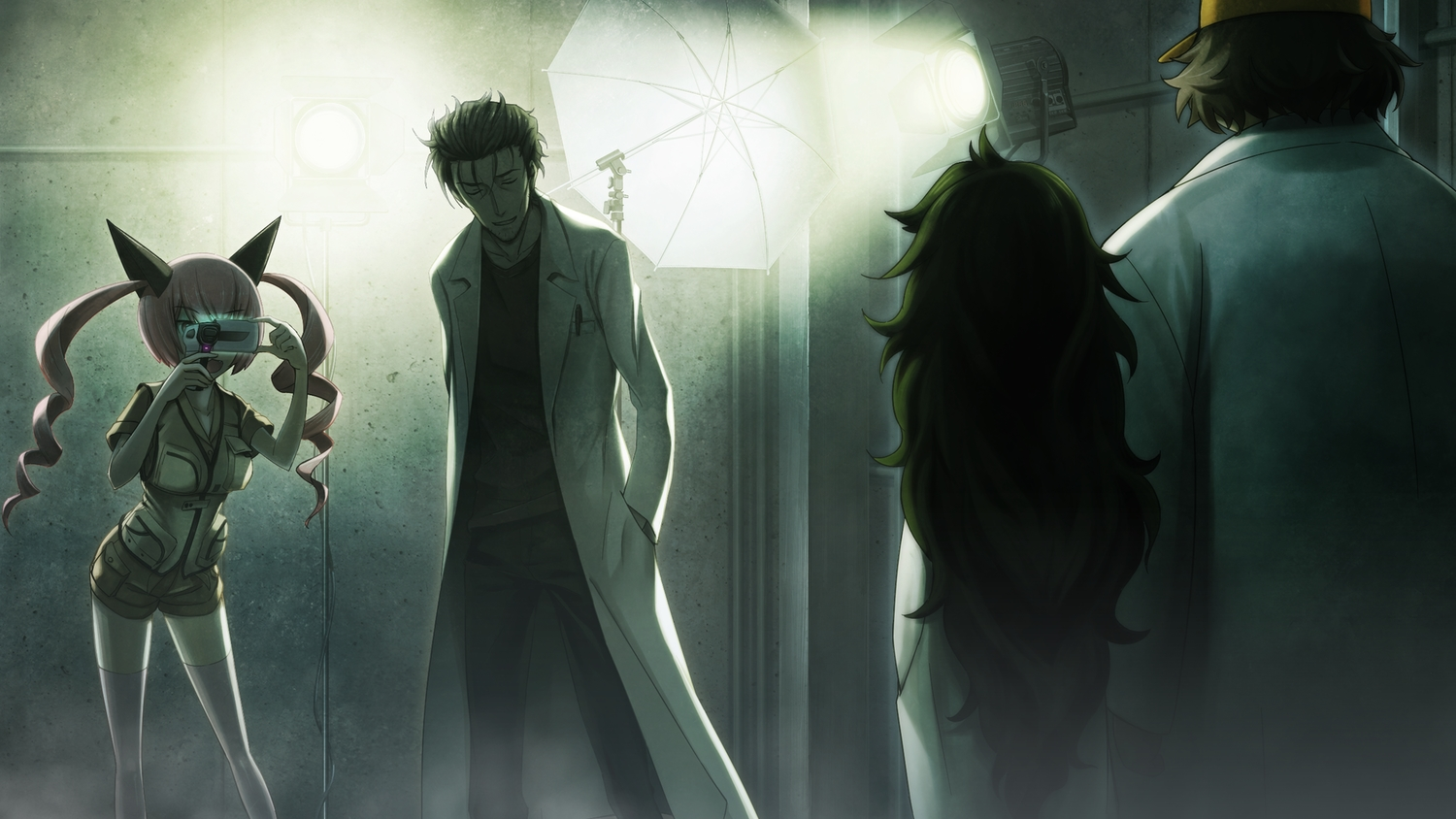 brown_hair camera faris_nyannyan game_cg group hashida_itaru hat hiyajou_maho huke long_hair male okabe_rintarou pink_hair short_hair shorts steins;gate steins;gate_zero thighhighs twintails