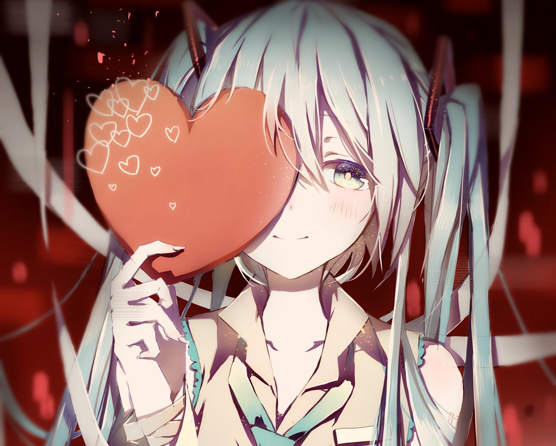 aqua_eyes aqua_hair blush close cropped hatsune_miku heart long_hair pudding_(8008208820) tie twintails vocaloid waifu2x