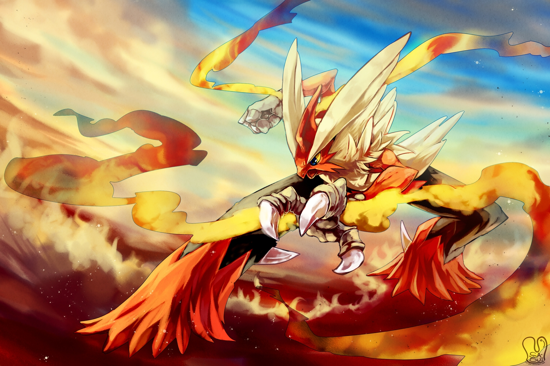 animal bird blaziken blue_eyes fire mega_blaziken pokemon polychromatic sa-dui signed