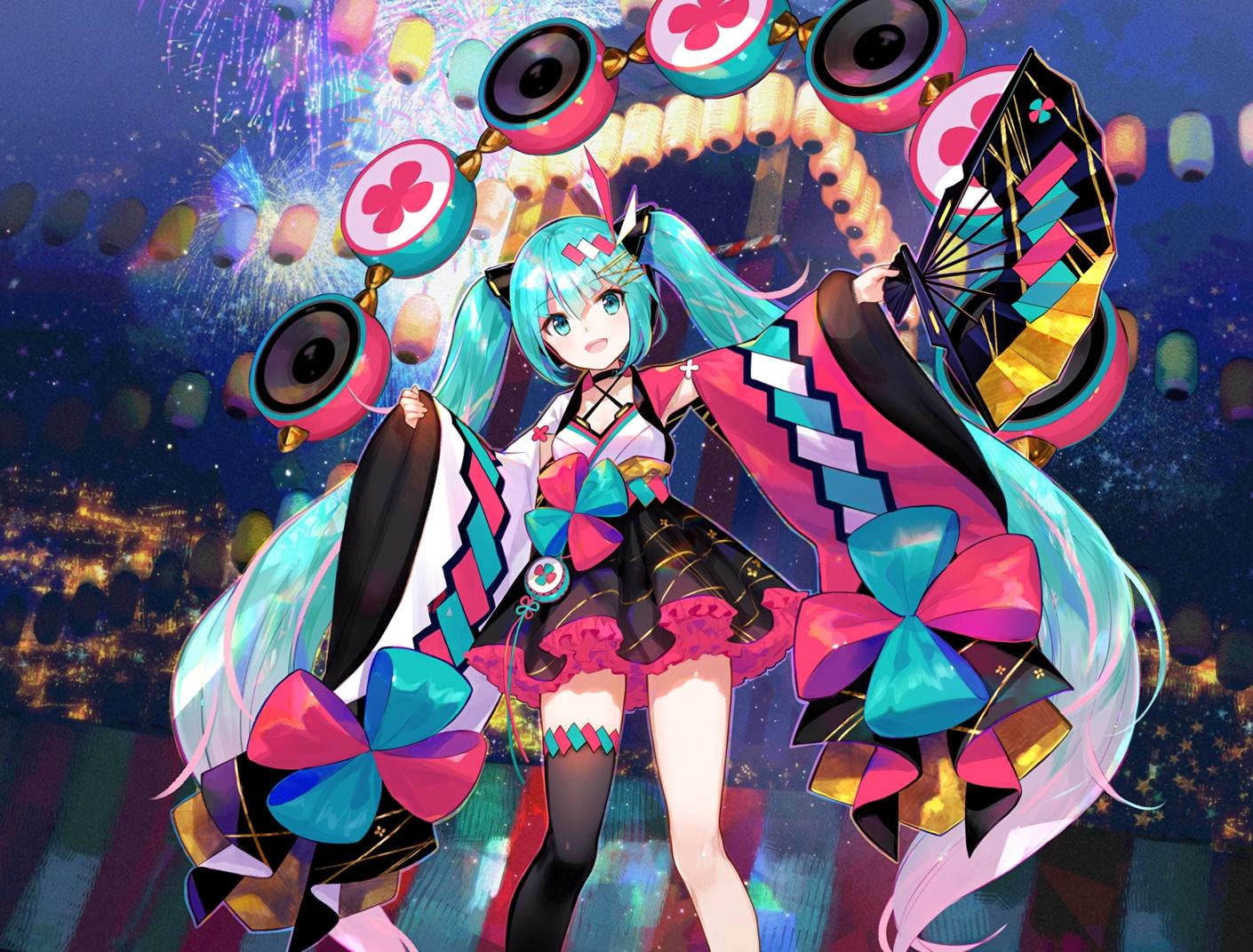 aqua_eyes aqua_hair choker cropped drums fan festival fireworks fuji_choko hatsune_miku instrument japanese_clothes long_hair magical_mirai_(vocaloid) skirt thighhighs twintails vocaloid waifu2x zettai_ryouiki