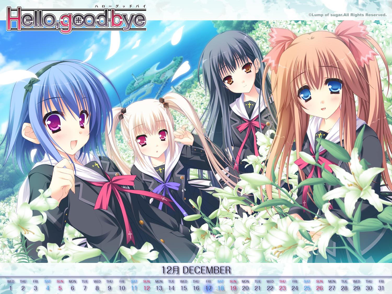 calendar flowers group hello_good-bye hiiragi_koharu moekibara_fumitake rindou_natsume saotome_suguri school_uniform yukishiro_may