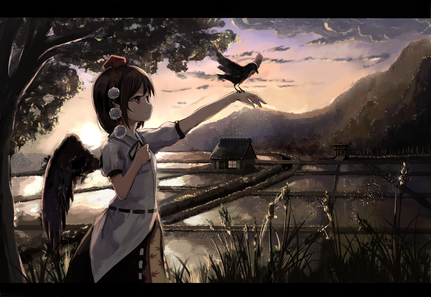 animal bird brown_eyes brown_hair building clouds grass landscape pointed_ears scenic shameimaru_aya short_hair sky sunset tagme_(artist) touhou tree water wings