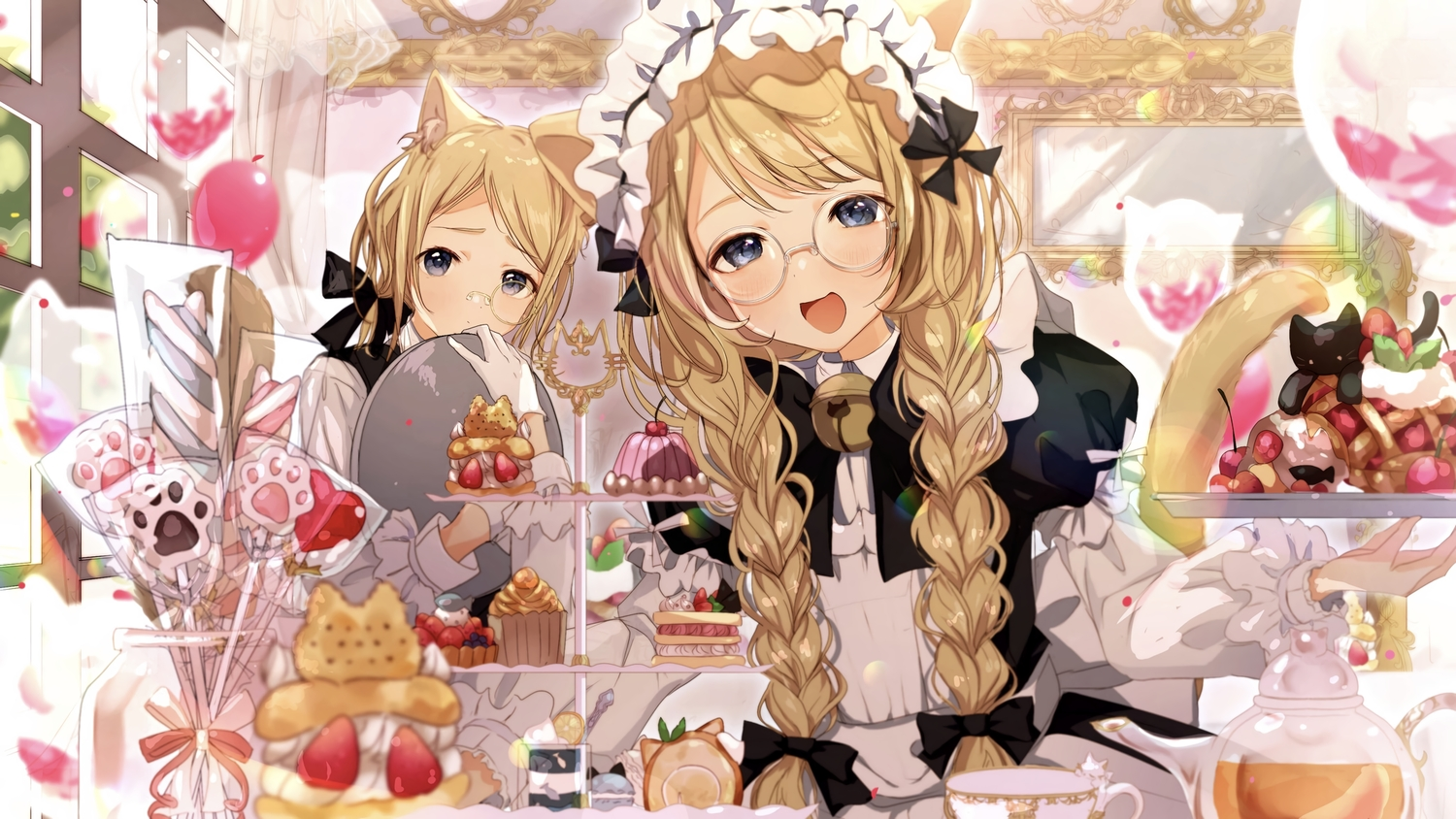 aliasing animal animal_ears bell black_eyes blonde_hair blush bow braids cake candy cat catboy catgirl food fruit glasses gloves headband lollipop long_hair maid male original peach_punch strawberry tail twintails