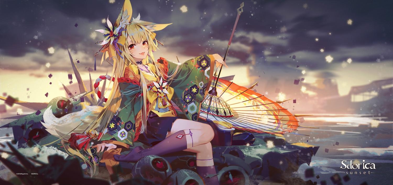 animal_ears blonde_hair clouds fang foxgirl izumi_(sdorica) japanese_clothes lamier logo long_hair red_eyes sdorica_-sunset- sky tail umbrella