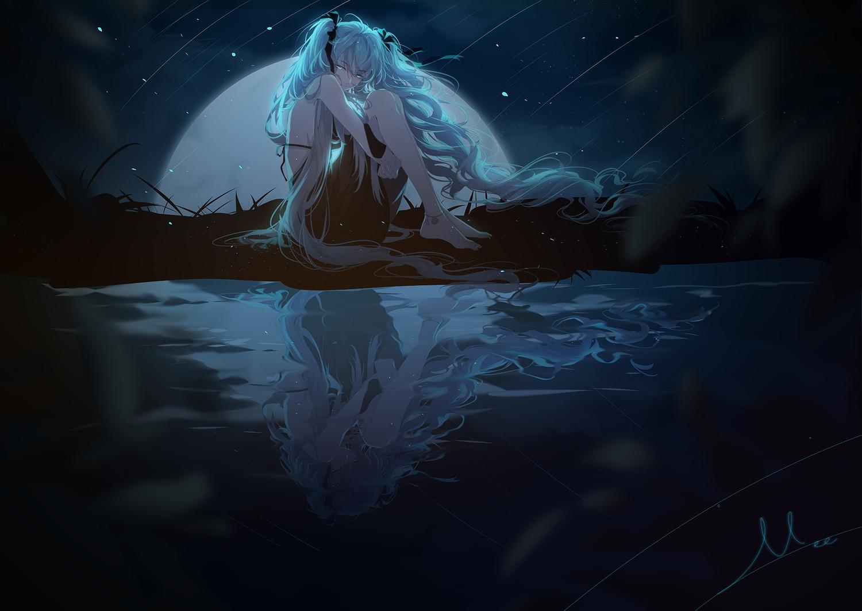 aqua_hair barefoot dark dress green_eyes hatsune_miku long_hair miemia moon night reflection signed sky stars twintails vocaloid