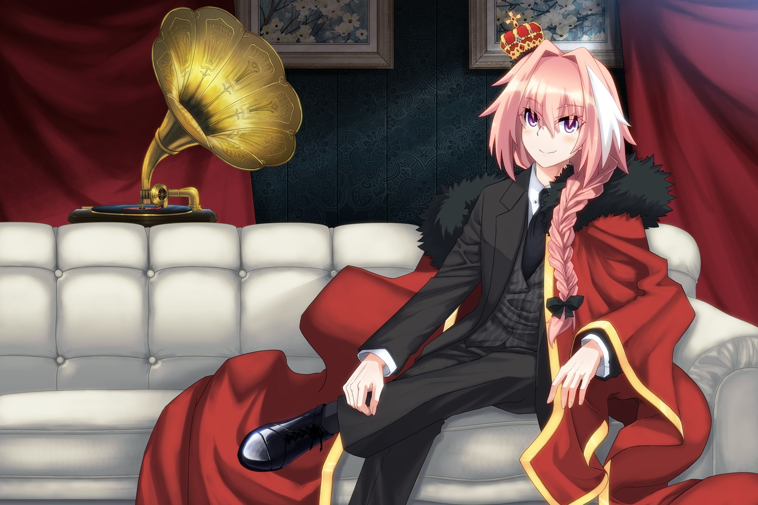 all_male astolfo braids couch crown fang fate/apocrypha fate/grand_order fate_(series) long_hair male pink_hair ponytail purple_eyes suit tie uiu
