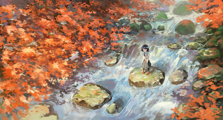 autumn black_hair fjsmu hat kneehighs leaves scenic shameimaru_aya shirt short_hair skirt tie touhou tree water