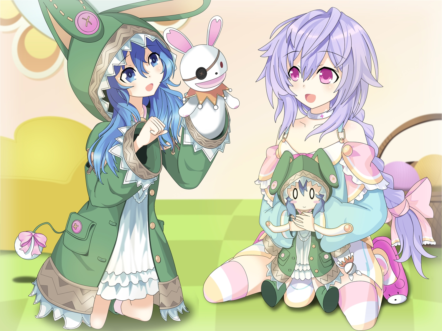 2girls blue_eyes blue_hair bow braids choker crossover date_a_live doll hyperdimension_neptunia long_hair puppet purple_hair pururut red_eyes thighhighs yoshino_(date_a_live) yoshinon_(date_a_live)